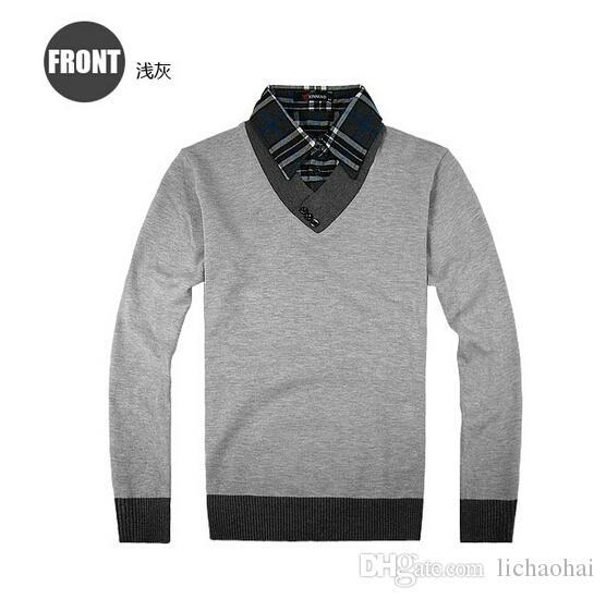 2018 2014 Winter Men'S Sweater Men Men'S Plaid Shirt Collar ...
