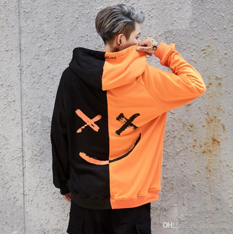 Top Best High Quality 2018 Mens Patchwork Hand Painted Smiley Hoodies  TT12