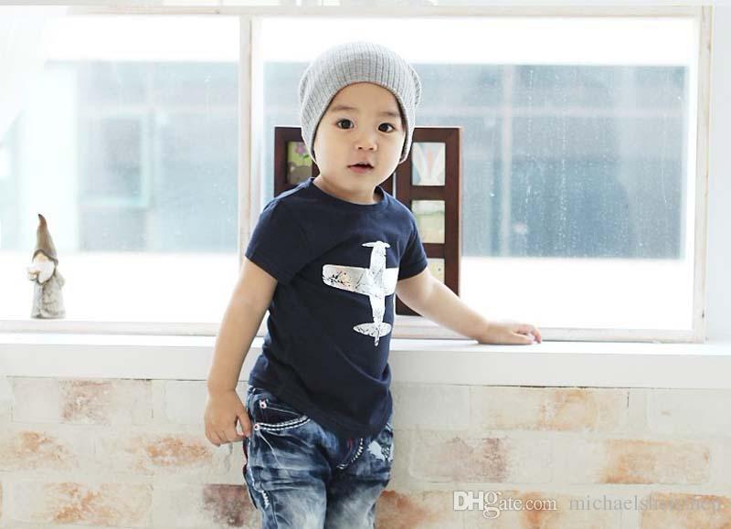 Summer Boys New Clothes Children Fashion Tees Shirts Short Sleeved Cotton Plane Printing aircraft T Shirts B001