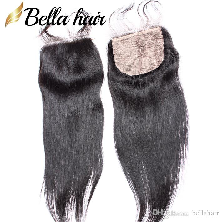 シルクベースのレースの閉鎖4x4を持つ人間の髪の束4x4まっすぐなブラジルのマレーシアのペルーのインドのバージンヘア緯糸伸びベラ髪