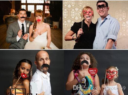 Photo Booth Props усы губ палку свадьба с Рождеством Новый год JIA445
