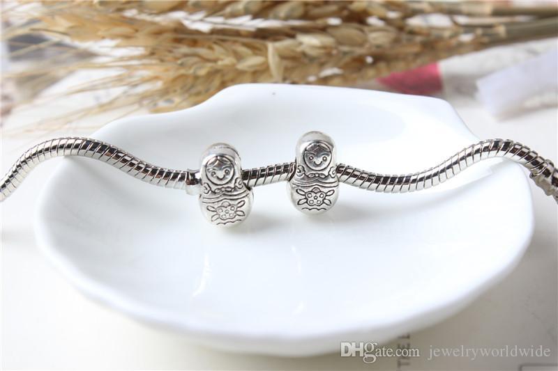 Bambola russa lega fascino fascino grande foro moda donna gioielli stile europeo la collana braccialetto fai da te