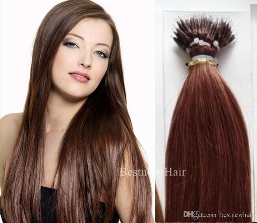 100g 16 18 20 22 33 Dark Auburn Indian Remy Human Micro Nano Rings Tip Hair Extensions Fast Shipping