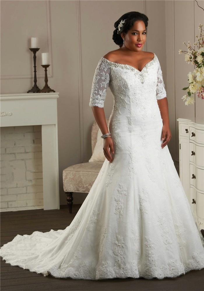 Discount full figure women bridal gown lace up closure for Wedding dresses for larger figures