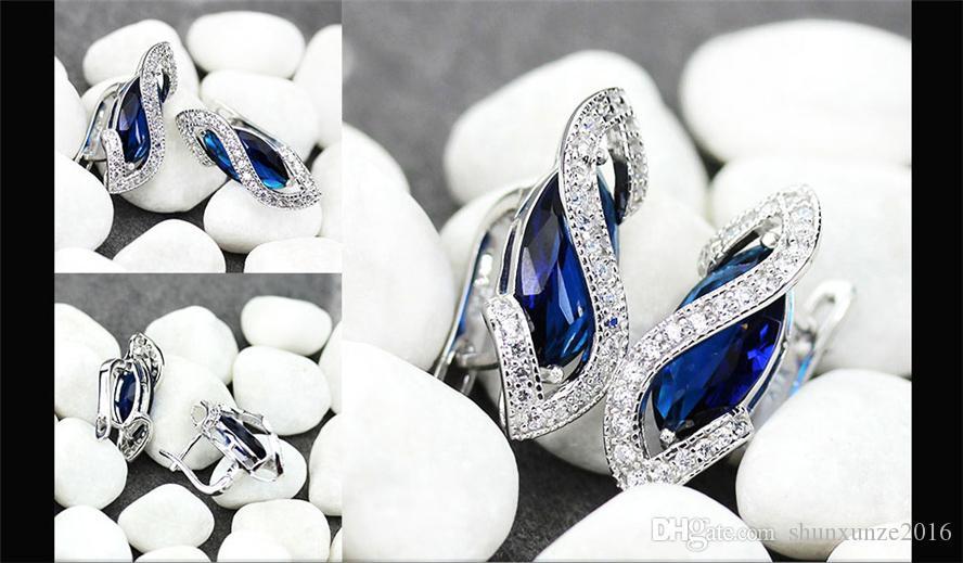 Réduction limitée dans le temps Meilleures ventes Cadeau de Noël Favori MN849 Boucles d'oreilles tendance zircon cubique bleu brillant cuivre plaqué rhodium