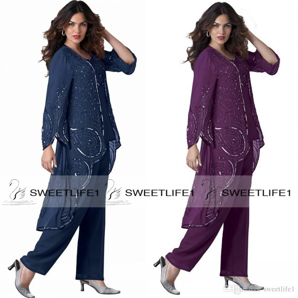Three Pieces Chiffon Mother of the Bride Pants Suits with Sequins Long Sleeves Ankle Length Beautiful Plus Size Mother's Party Dresses
