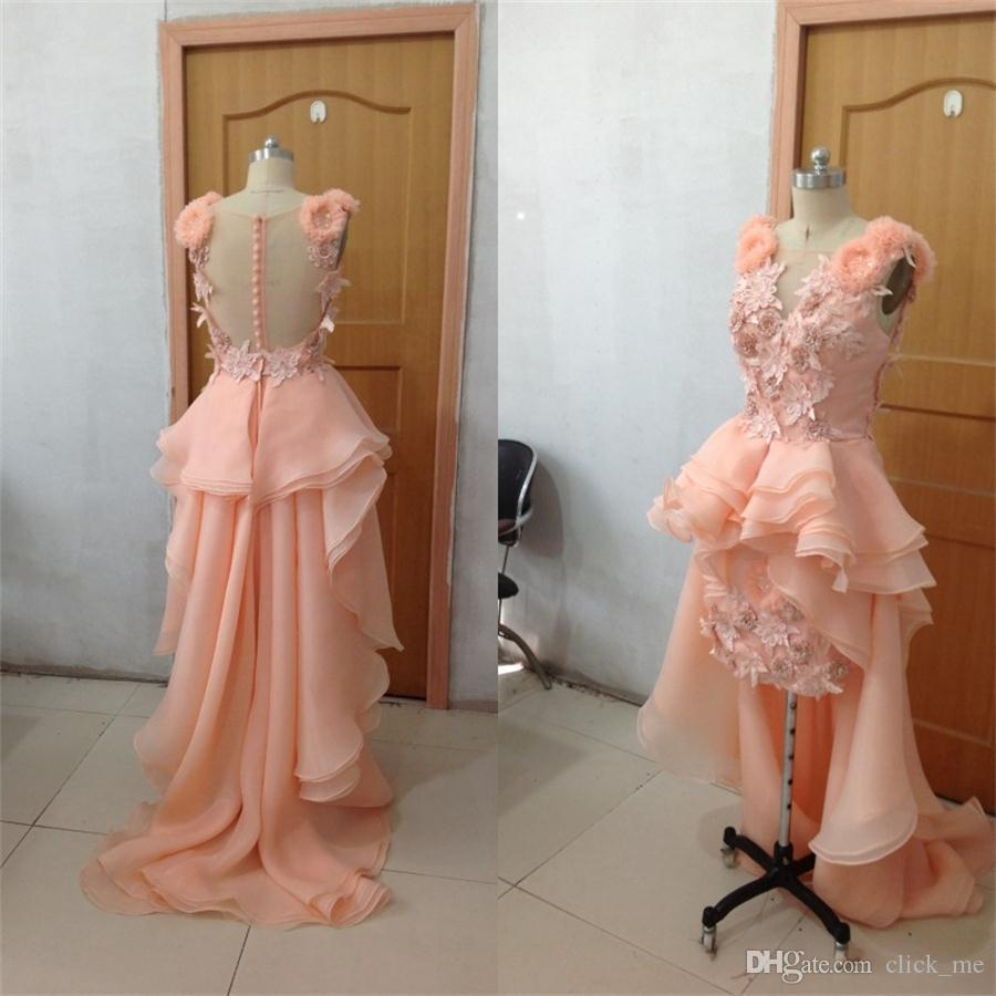 2015 Celebrity Evening Gowns Organza Hi-Lo Arabic Sexy Prom Bridal Dresses With Applique Hand Working And Asymmetrical Train Wedding Dresses