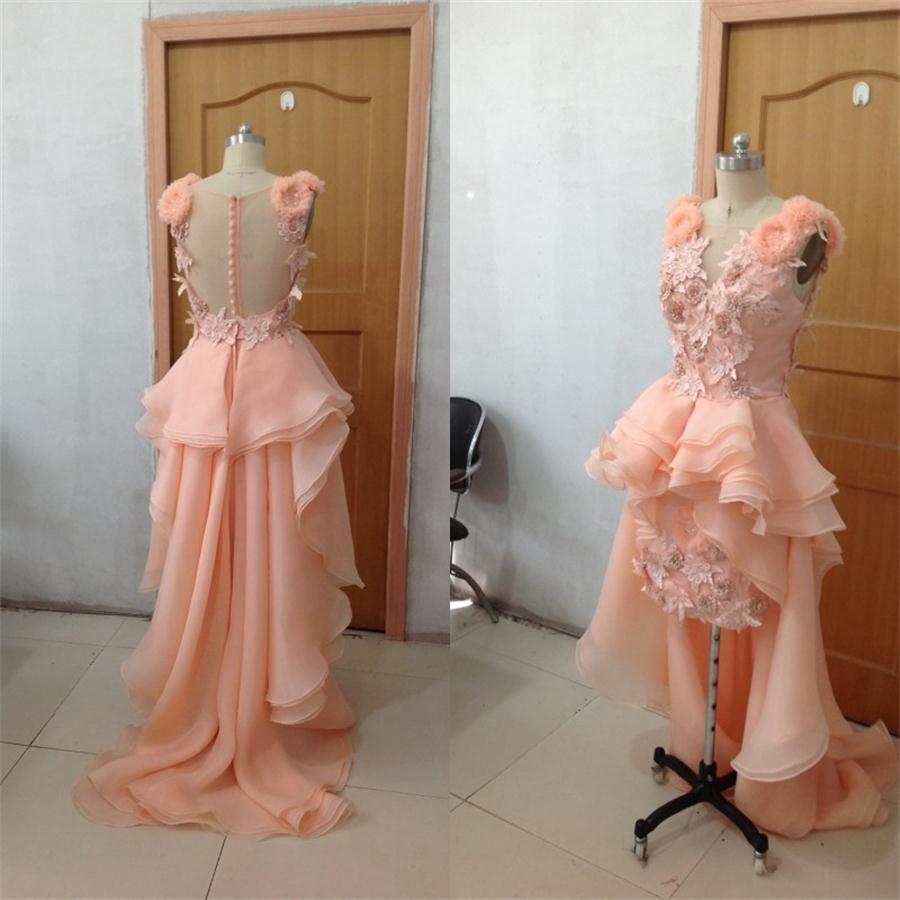 2015 Kändis kvällsklänning Organza Hi-Lo Arabiska Sexiga Prom Bridal Klänningar med Applique Hand Arbeta och Asymmetriska Tåg Bröllopsklänningar