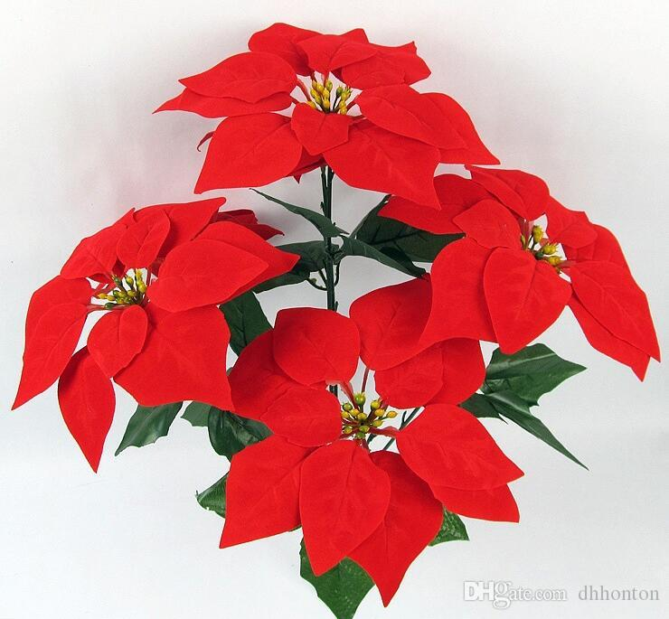 2019 Christmas Flower Poinsettia Artificial Flowers Poinsettia Christmas  Home Festival Decoratiion Flower 45cm 5 Heads Not Include The Vase SF009  From