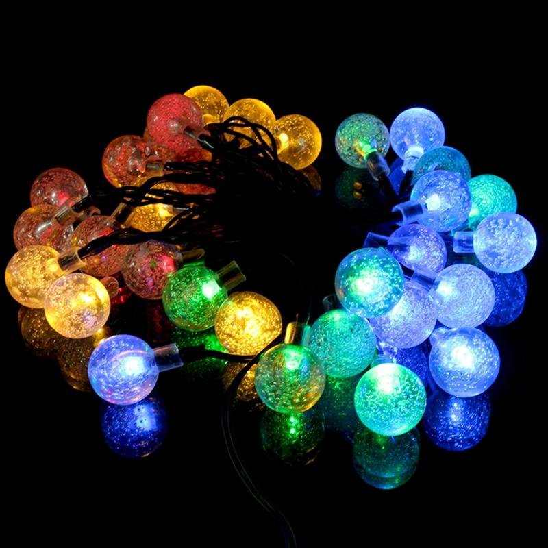 wholesale jetting 20 clear globe connectable festoon party led ball string fairy light led christmas lights wedding garden garland outdoor blue led string