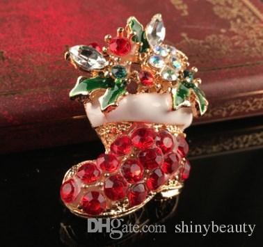 Ucuz Sevimli Yeni Coming Köpüklü Noel Broş Kristal Sevimli Noel Hediyeleri Noel Dekorasyon Diğer gelin aksesuarla