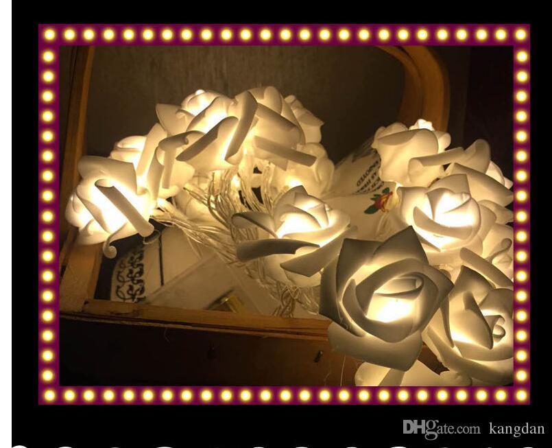 2.5 m colorido luzes da árvore de natal festa festival decoração rose flower string luzes decoração do quarto de casamento luzes led