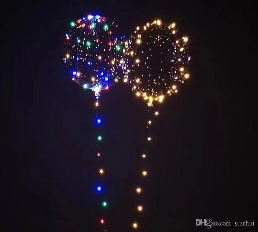 Led Bobo Balloon Colorful Transparent Round Bubble Festive Party Decorazioni natalizie Palloncini matrimoni Illuminazione 3M String WX9-174