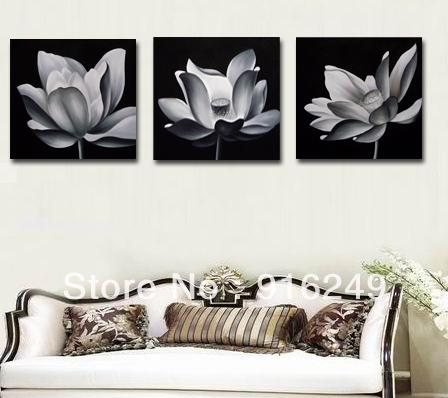 2018 Hot Sell Black And White Oil Painting Lotus Flowers Modern ...