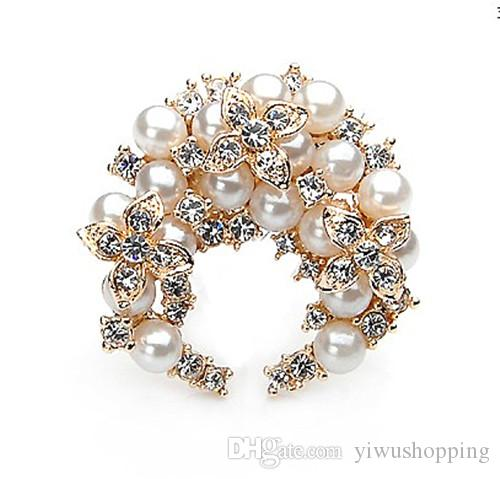 Fashion Silver/Gold Plated With Pearl Clear Rhinestone Crystal Diamante Flower Wreath Design Brooches and Pins For Bouquet
