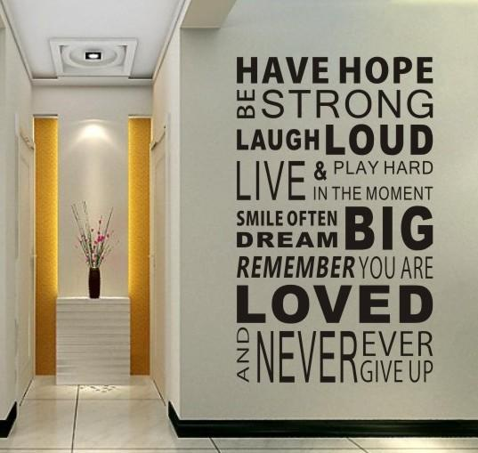 Have Hope Sticker Family Rules Home Decor Quotes Office Decoration ...