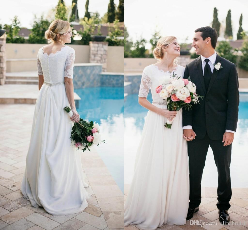Discount Modest White Lace Wedding Dresses With 1/2 Sleeve