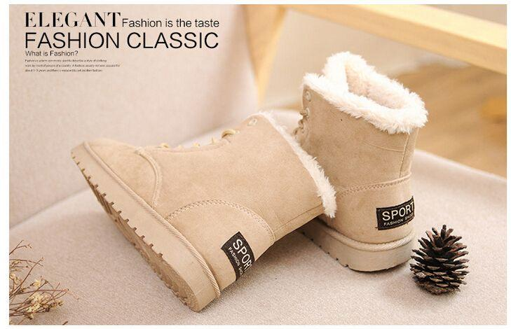 2015 Women Winter Shoes Flat Heel Ankle Boots Casual Cute Warm Shoes ... 1f5517787fbb