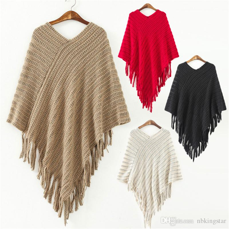 New Winter Fashion Women V Neck Batwing Stripes Pullover Knit ...