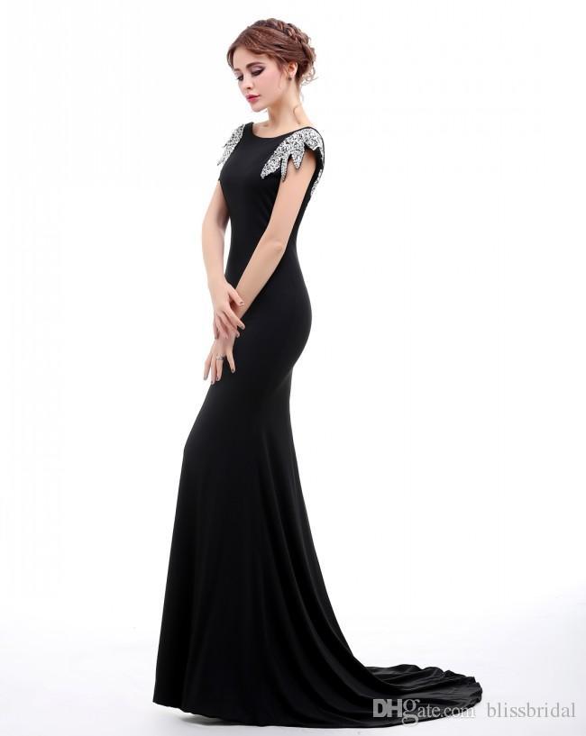 백금과 백퍼센트 진짜 사진 블랙 인어 댄스 파티 드레스 캐피탈 슬리브 여성 가운 스위프 기차 백리스 섹시한 파티 드레스