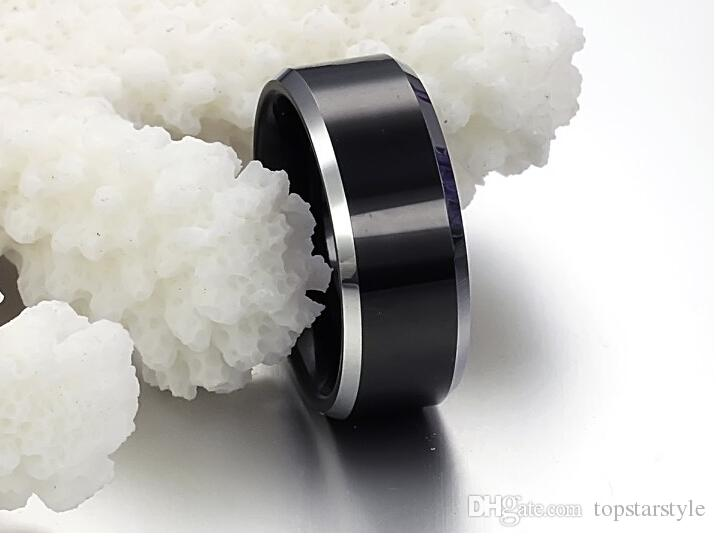 8mm Fashion Jewelry Ring Tungsten Carbide Ring Black Plating and Silver Bevel Edges for men and women TUR-006