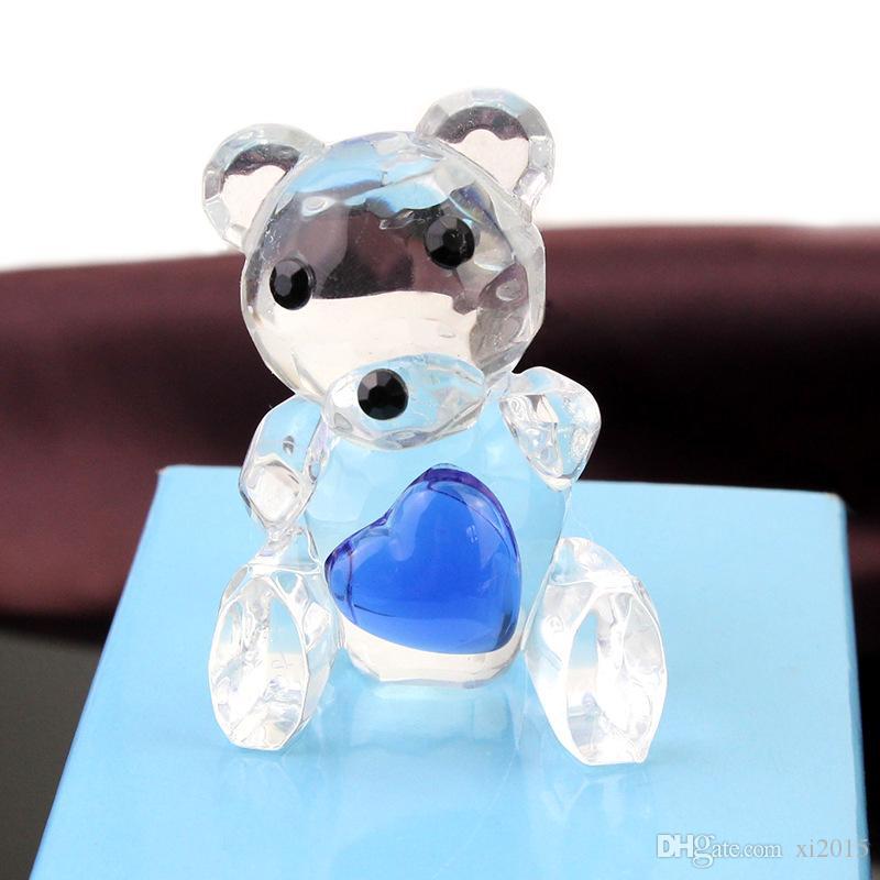 Baby Shower Favors Choice Crystal Collection Teddy Bear Figurines -Blue Crystal For Boy+