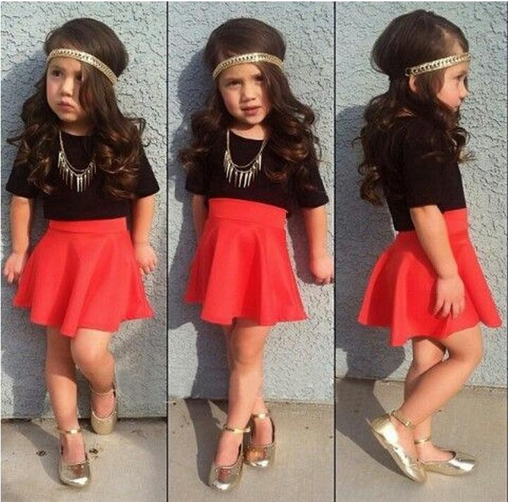 Online Cheap Summer Girl S Suits Baby Girls Red Skirts Black Tshirt