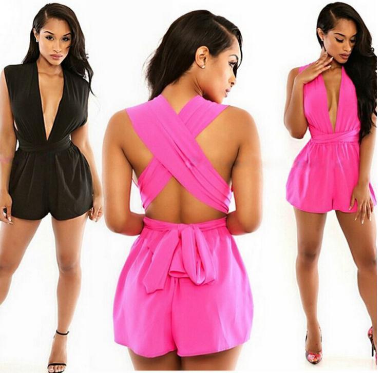 61cdfd531111 Celebrity Style Women s Deep V Neck Chiffon Jumpsuits Playsuits .
