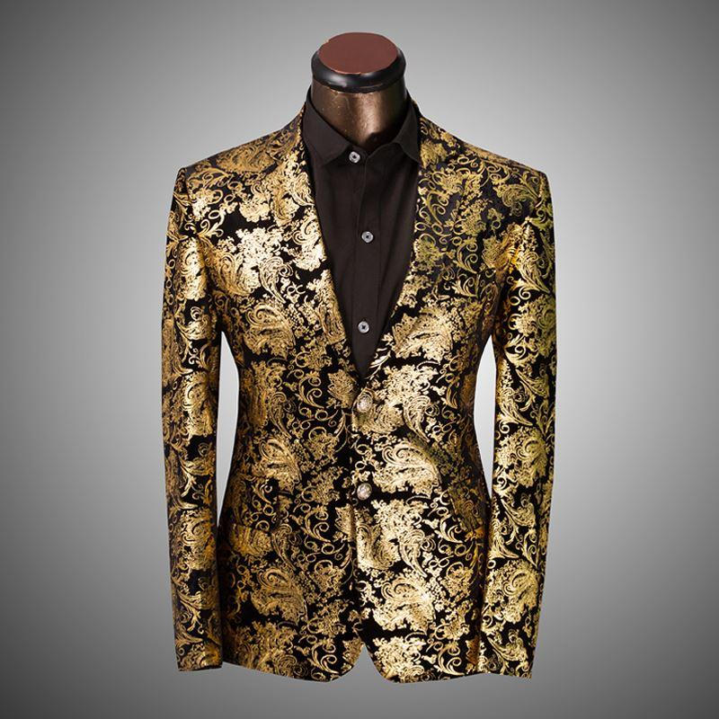 Best 2015 New Arrival Gold Suits Mens Luxury Print Blazer Casual ...