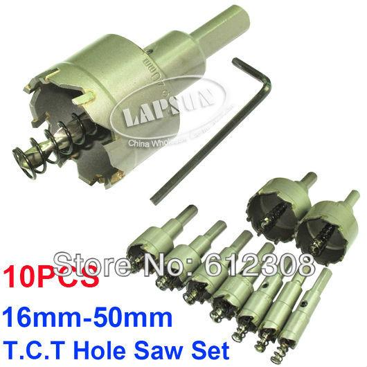 10psSteel Wood Carbide Tip Drill Bit T.C.T Metal Cutter Cutting Hole Saw Set Stainless Holesaw 20mm 25mm 30mm 40mm 50mm