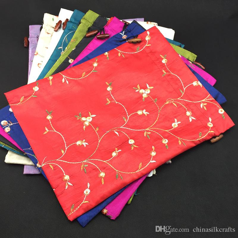 246ad95943 2019 High Quality Embroidered Bunk Shoe Covers Storage Bags Satin Fabric  Drawstring Gift Packaging Pouches  Pack Mix Color From Chinasilkcrafts