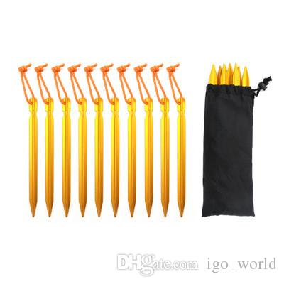 NEW 18cm Aluminium Alloy Tent Peg Nail Stake with Rope Camping Equipment Outdoor Beach Tent Peg 001