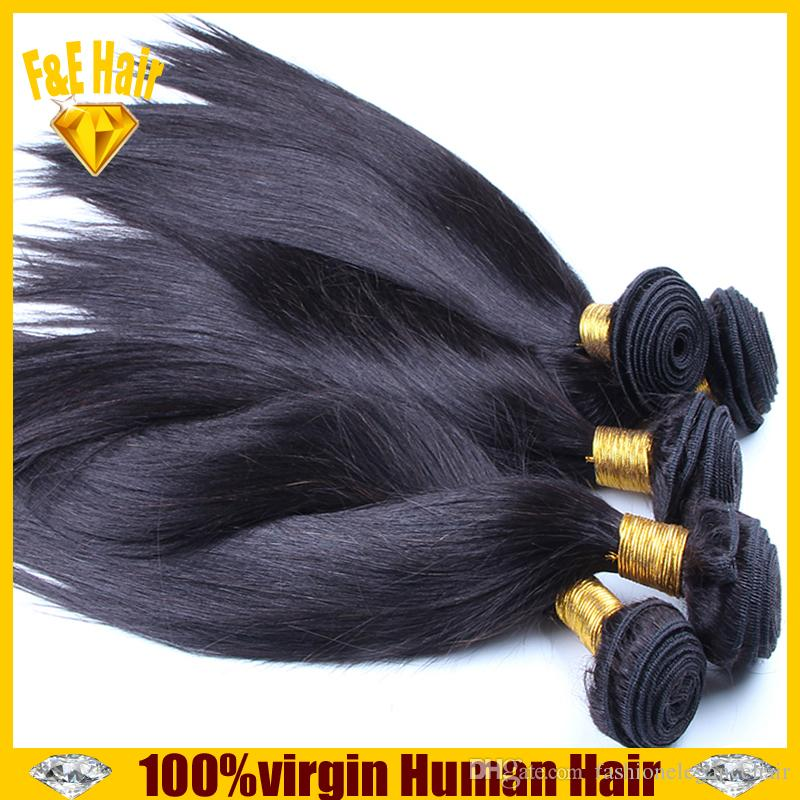 7А Бразильские волосы девственницы прямые пучки 3шт / много необработанные девы русские наращивание волос натуральный черный реми волос