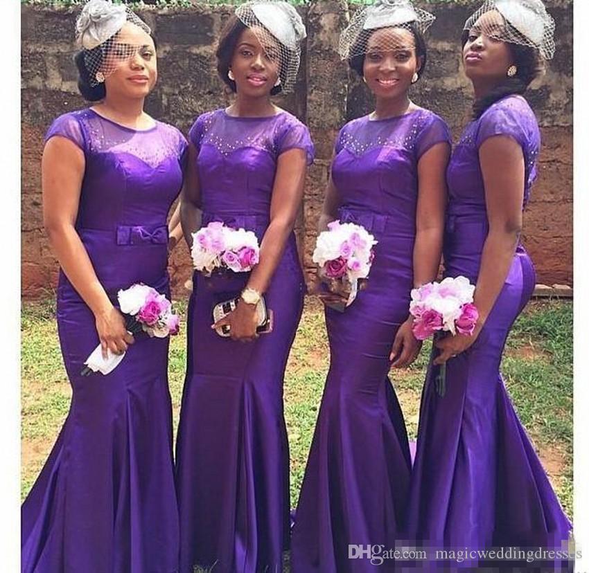 Compre 2018 Purple Country Style Sirena Vestidos De Dama De Honor ...