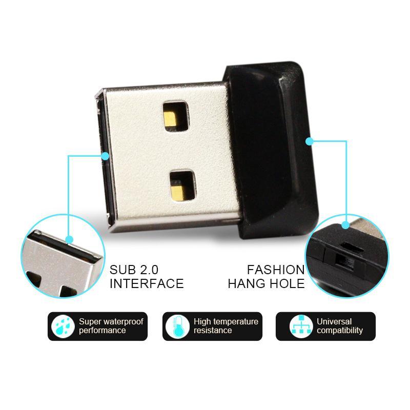 Super Mini clé USB Clé USB avec capacité réelle 4 Go 8 Go 16 Go 32 Go 64 Go Noir CZ33 Nonbrand Clé USB 2.0 avec emballage de vente au détail