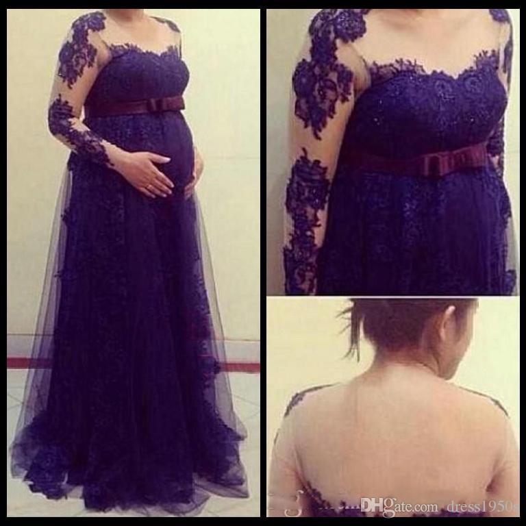 Vestidos elegantes экипаж империи чистой иллюзии с длинными рукавами материнства вечерние платья кружева платья выпускного вечера для беременных женщин