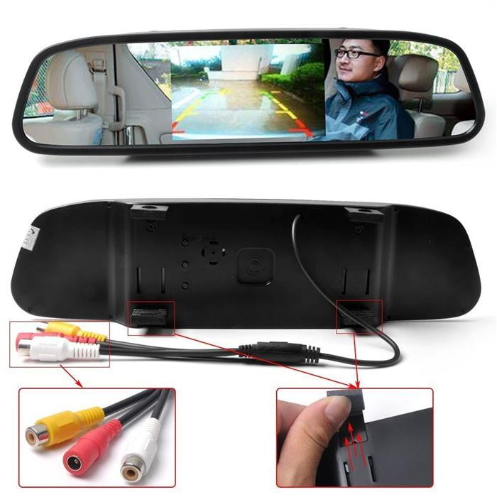 """4.3"""" Color TFT LCD Car Rear view Mirror Monitor FR Screen Reverse Paking Camera DVD Video Input"""