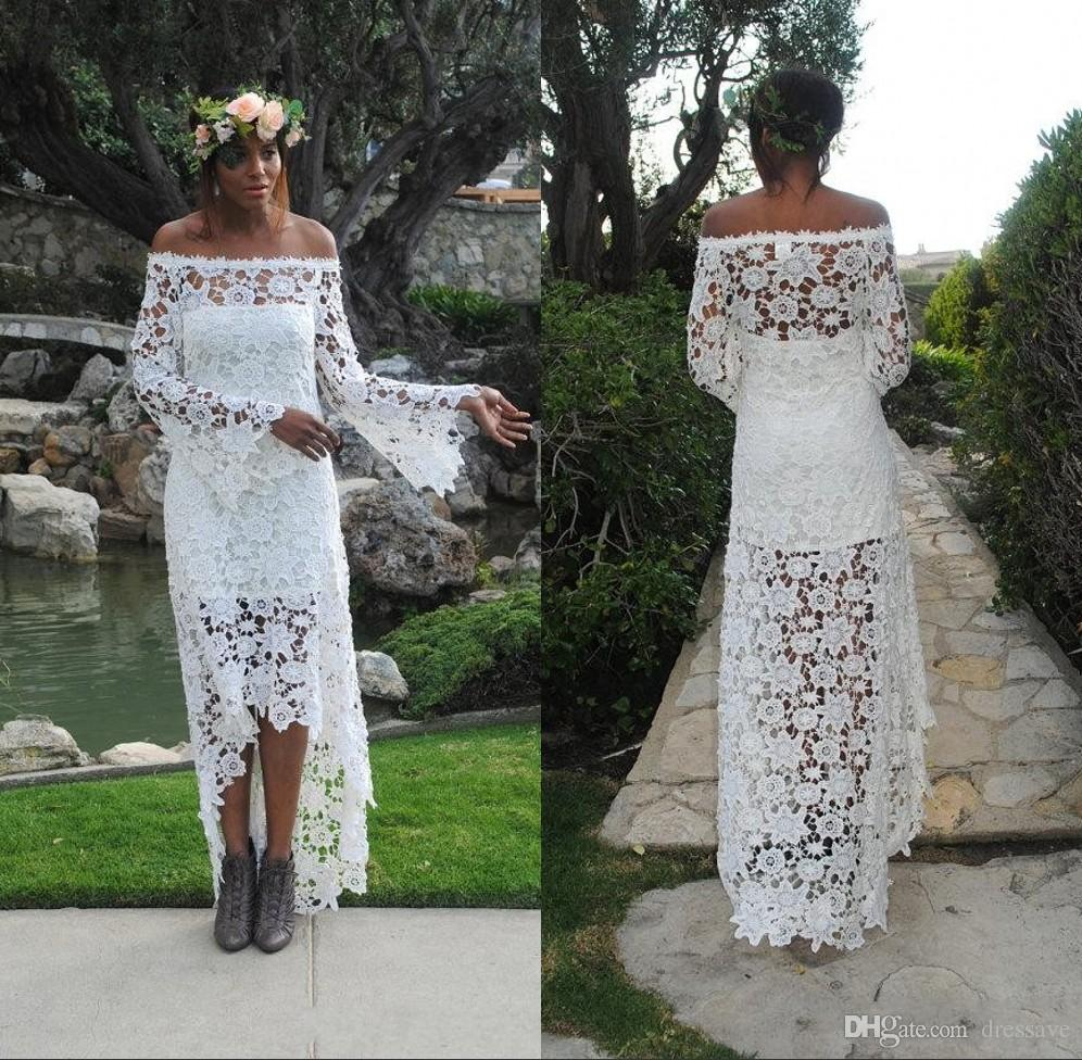 Discount 2018 High Low Country Beach Wedding Dresses Lace A Line Off Shoulder Vintage Long Sleeve Bridal Gowns Cheap Custom Style
