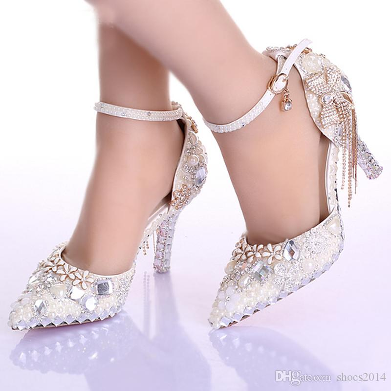 Pointed Toe Ankle Strap Boots Bridal Shoes Ivory Pearl Wedding