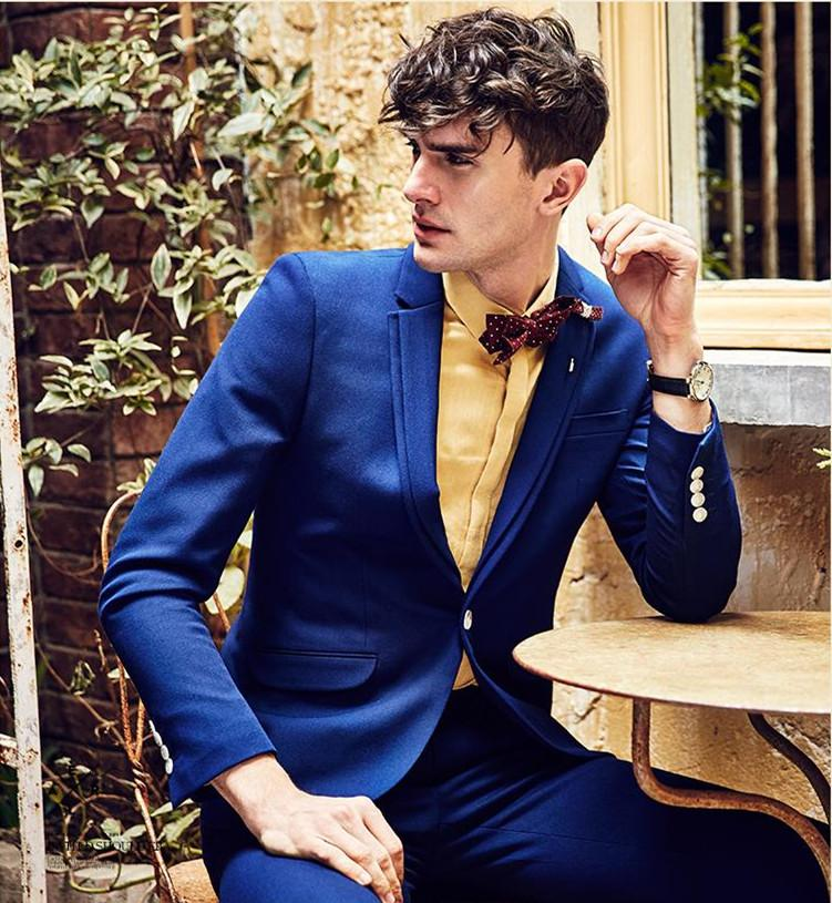 Blue And Gold Prom Suit - Go Suits