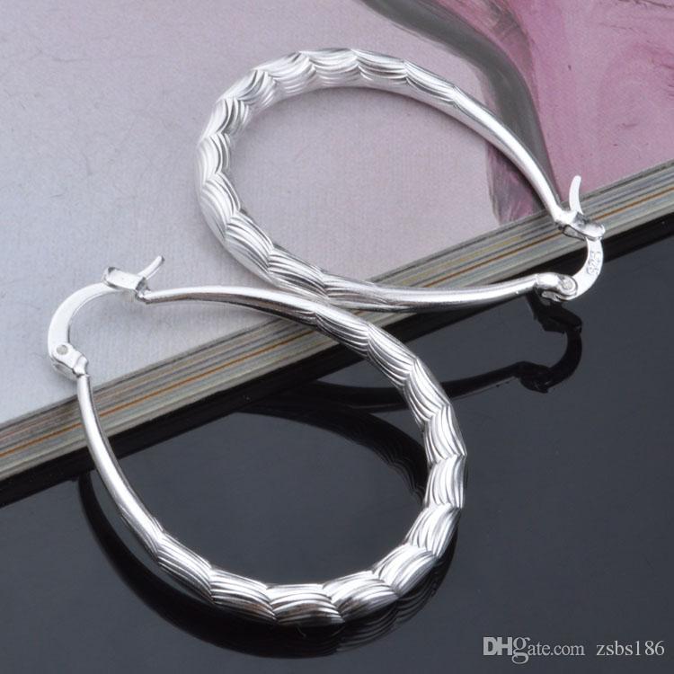 2015 yeni tasarım 925 ayar gümüş çember küpe moda klasik takı kızlar için ücretsiz kargo
