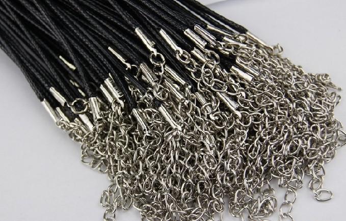 安く黒いワックスレザーの蛇のネックレスビーズコード弦ロープ線45cmのエクステンダーチェーンロブスタークラスプDIYジュエリー部品