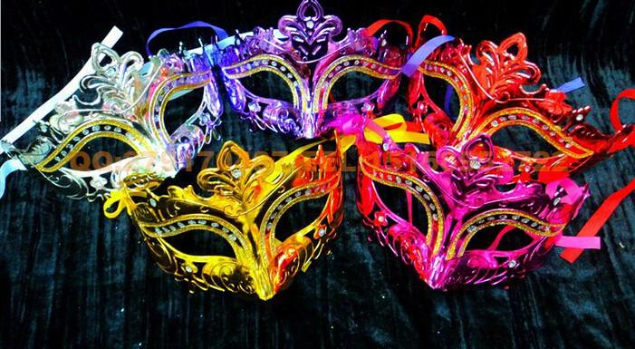 2015 new arrive Woman Mask Halloween Masquerade Masks Mardi Gras Venetian Dance Party Face gold shining plated Mask D149