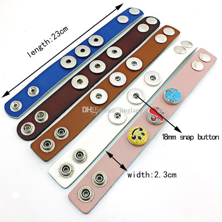 真新しいカフブレスレットファッション交換可能な18mmスナップボタンインフィニティ5カラーレザーブレスレットDIYジュエリー