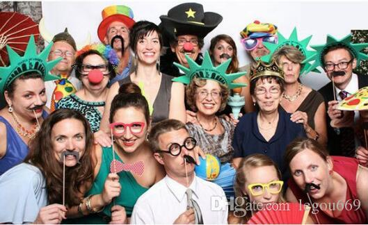 Photo Booth Props Mustache Lip Stick Wedding Happy Christmas New Year Party JIA445