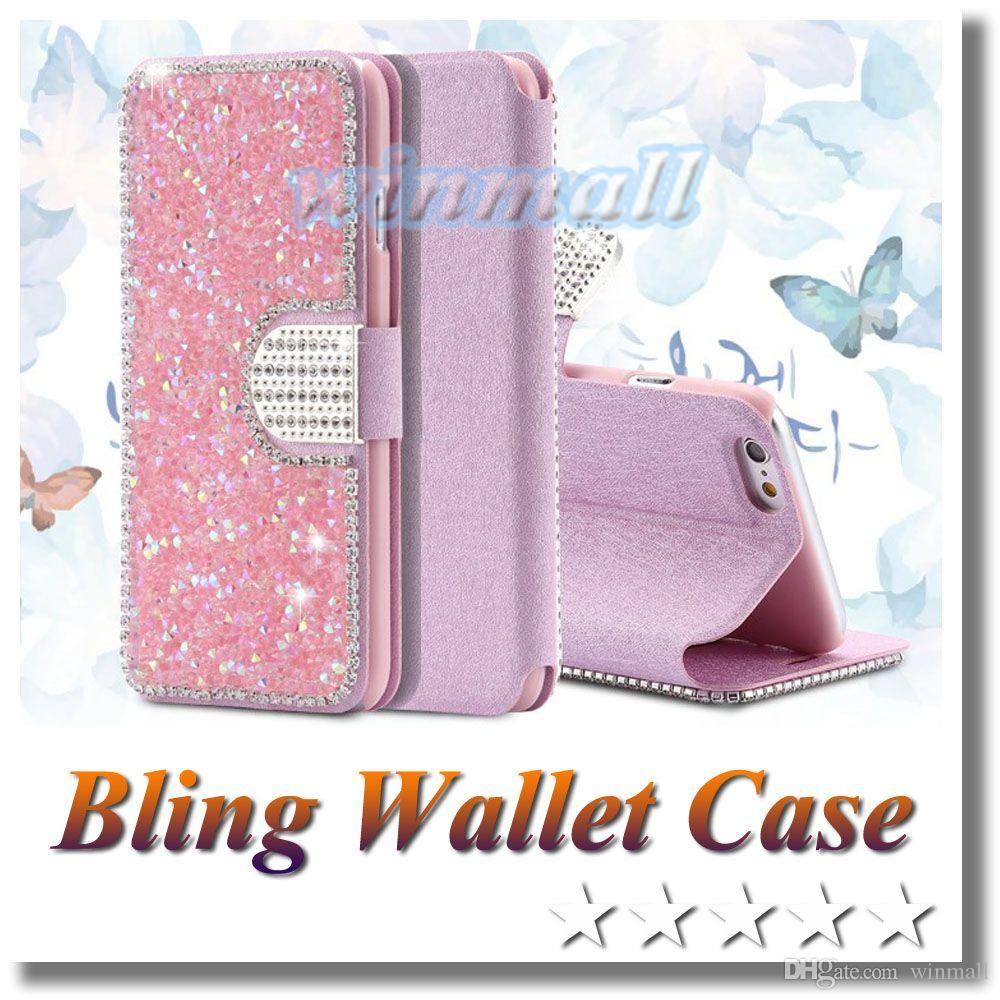 the best attitude 59b1b 02334 Bling Rhinestone Diamond Flip Leather Stand Wallet Case Cover with Card  slot For Iphone 6s Plus SAMSUNG S7 S6 Note 5 All models
