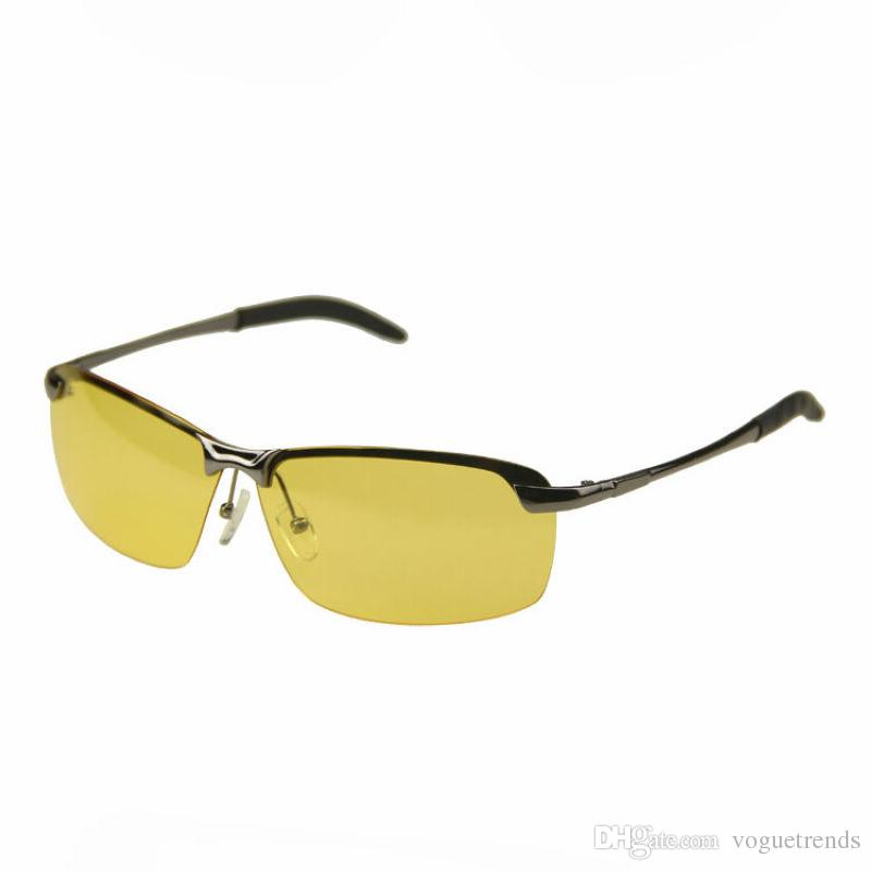 fb4ae30500 Night Vision Driving Glasses Rimless Metal Gun Grey Frame Yellow Polarized  Lens Mens NVG Glasses For Driving At Night Glasses Frames Glasses Online  From ...