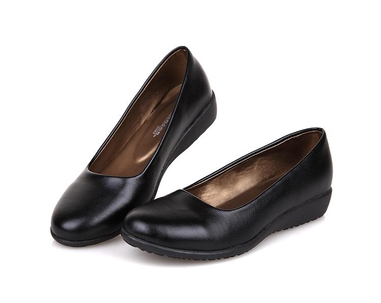 Ultra- soft black leather work flat mother single shoes comfortable heel Specials