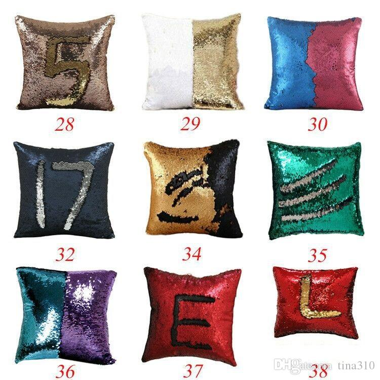 New 40*40cm Doule-color Magic Reversible Mermaid Sequins Pillow Cover Glitter Pillow Cover Throw Pillow IC859