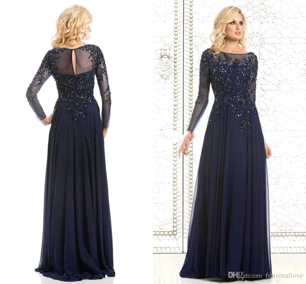 2016 Bateau Long Sleeves Mother\'S Dresses 2015 Cheap Appliques ...